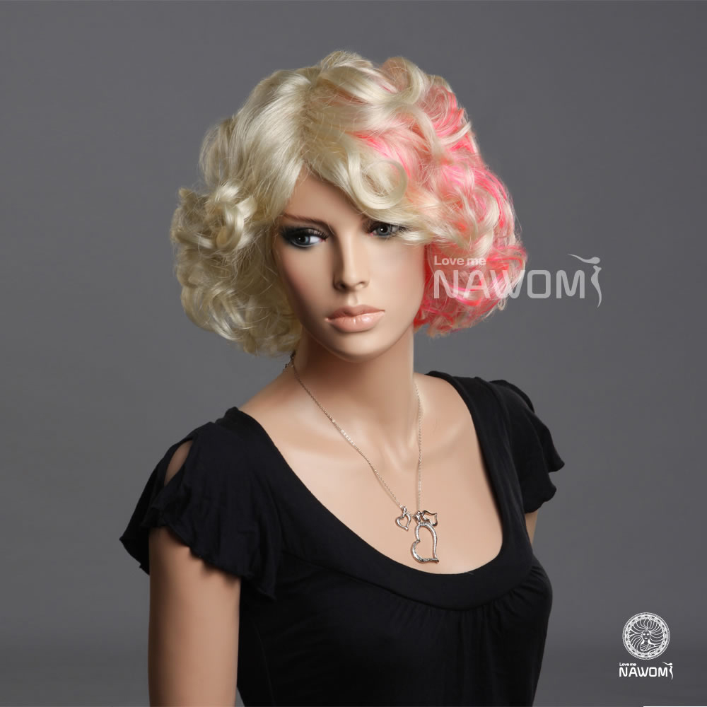 Women Blonde Color Wigs Short Hair Styles Curly Gold Roots With Pink