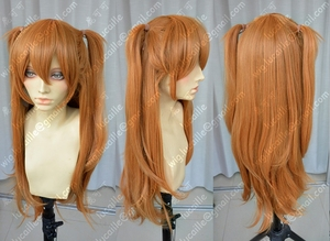 Image 3 - Anime EVA Asuka Langley Soryu Lange Orange Mit 2 Pferdeschwanz Clips Hitze Beständig Haar Cosplay Kostüm Perücke + Headwear Haripin
