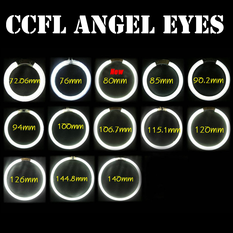 Universal CCFL Angel Eyes Car motorcycle Halo Headlight 4X full Rings 72MM 80MM 85MM 90MM 100MM 105MM 120MM with 2 CCFL Inverter for uaz patriot ccfl angel eyes rings kit non projector halo rings car eyes free shipping
