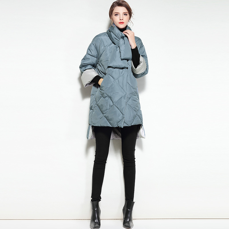 Femmes pu Col Ultra Ciel Puffer Le Lumière Piste Coréen Manteaux Vers Noir 2017 Veste Longs Noir Bas Parka Écharpe D'hiver Vestes Canard P71dxwqPR