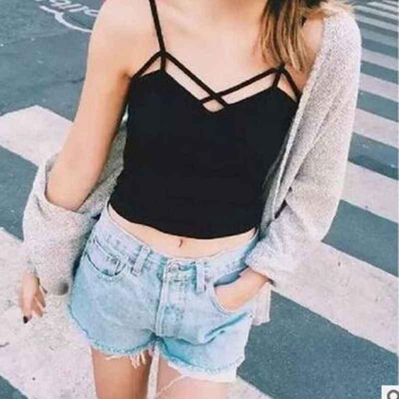 女性キャミソール V ネックベスト伸縮性背中スリング Tシャツ女性 2018 新夏セクシーなタンク固体トップ