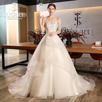 JUSERE Sweetheart Neckline Lace Appliques Beading Corset Bodice Flowers Puffy A line Zipper Court Train Wedding Dress 2018