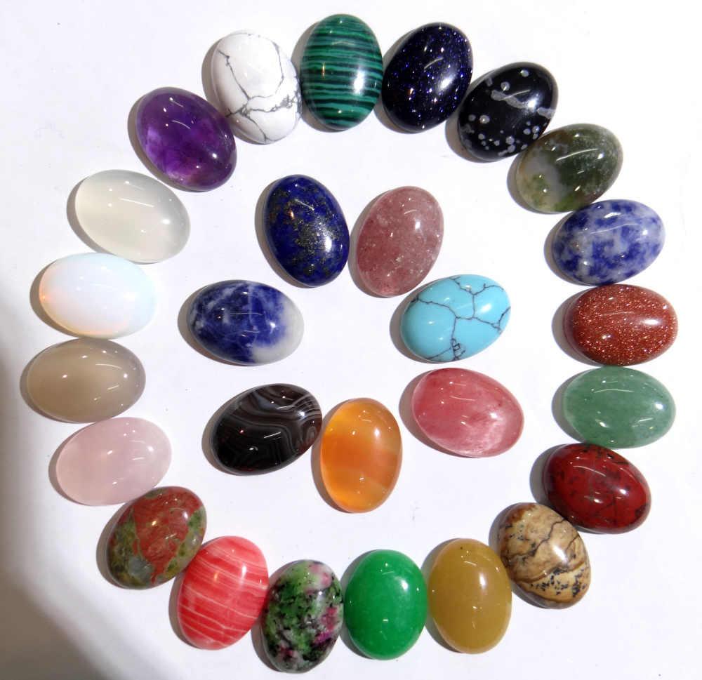 13x18mm אבן טבעית טורקיז קוורץ קריסטל עין נמר סגלגל קרושון תליון לdiy תכשיטי ביצוע שרשראות Accessories30pc