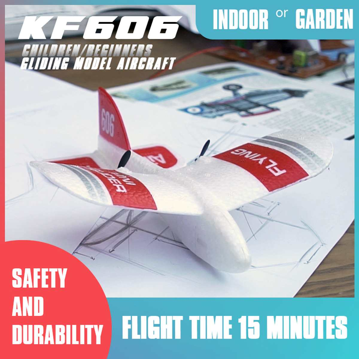 2.4Ghz KFPLAN KF606 2CH EPP Mini Indoor RC G lider Airplane Built-in Gyro RTF Propeller Remote Control RC Model Hobby Toy