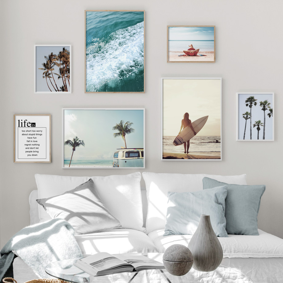 Sea Beach Coconut Tree Bus Sky Quote Landscape Wall Art Canvas Painting Nordic Posters And Prints Wall Pictures For Living Room in Painting Calligraphy from Home Garden