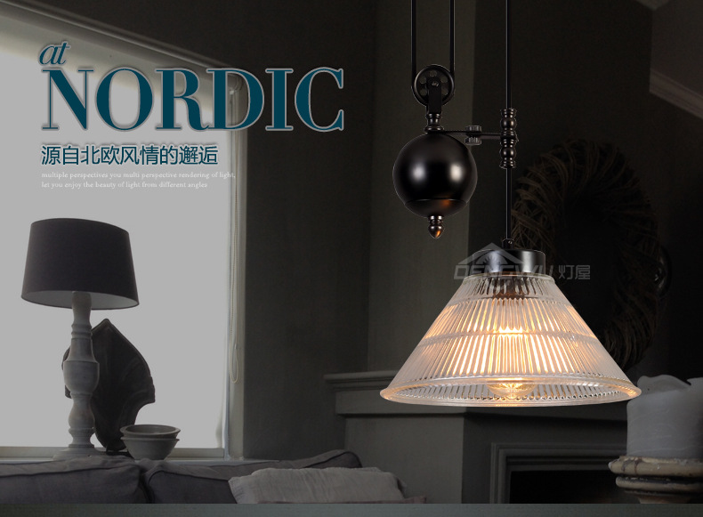 Loft Style Pulley Metal Glass Cover Pendant Light Restaurant Decoration Light Foyer Light Bedroom Light Free Shipping free shipping light weight crank pulley new for nissan skyline gtr bnr32 rb26 dett rb20 rb25 underdrive crank pulley yc100829