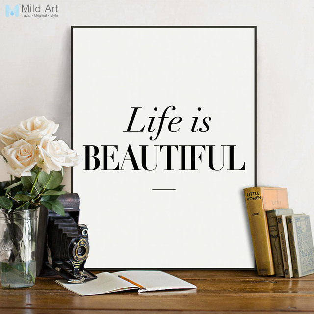 Minimalist Life Is Beautiful Quotes Black and White Posters Prints ...