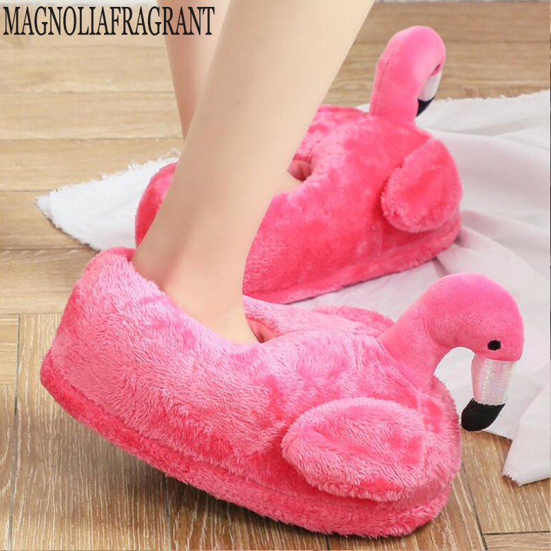 Winter Lovely Home Slippers Chausson Shoes Women Flamingo Slippers Pantuflas Unicornio Pantoufle Femme Warm Cotton Shoes Hy24(China)