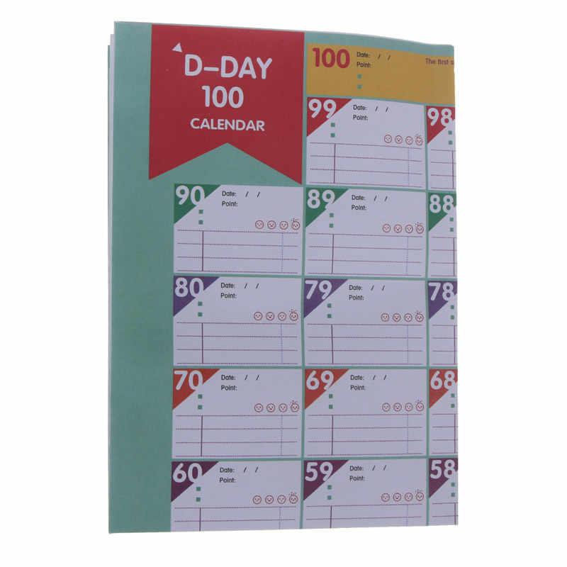 100-יום יעד שולחן ספירה לאחור לוח זמנים תזכיר Pad סטודנטים למידה תכנון מדבקות מתכנן קריקטורה חמוד משרד ציוד לבית ספר