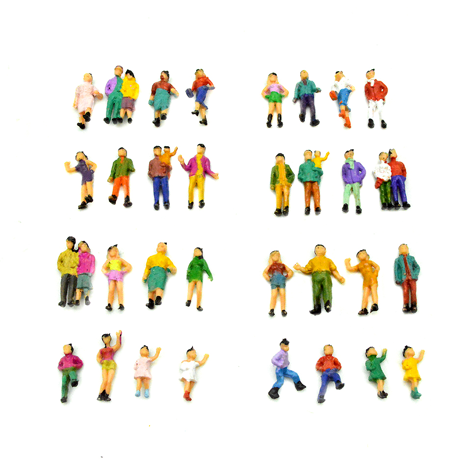 50pcs HO Scale Plastic Painted Figures 1:87 Model Passager People Architectural Building Materials Standing Figures