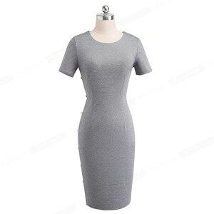 Image 4 - נחמד לנצח אלגנטי בציר מוצק צבע עגול צוואר עבודת כפתור vestidos המפלגה עסקי נדן משרד נשים Bodycon שמלת B499