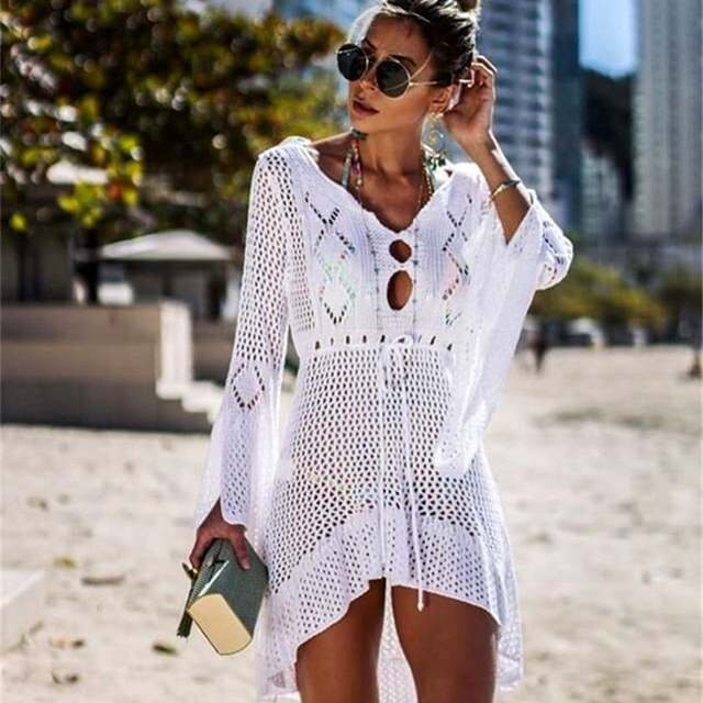 9b6f821d5201 Women Bathing Suit Summer Bikini Cover Up Sarong Dress Swimwear Kaftan Lace  Crochet Beach Wear-in Dresses from Women's Clothing on Aliexpress.com |  Alibaba ...
