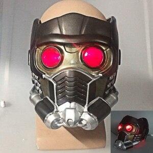Image 1 - Cos người bảo vệ của galaxy đội mũ bảo hiểm cosplay peter quill đội mũ bảo hiểm PVC với Led Ánh Sáng Sao The Lord Of The Helmet Halloween Mặt Nạ Bên người lớn