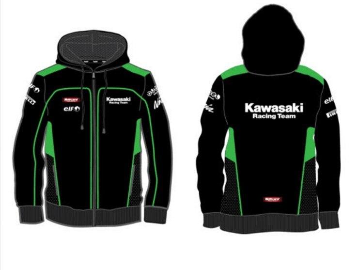 KAWASAKI LOGO MOTORBIKE MOTORSPORT CONTRAST HOODIE S UP TO 2XL!!!