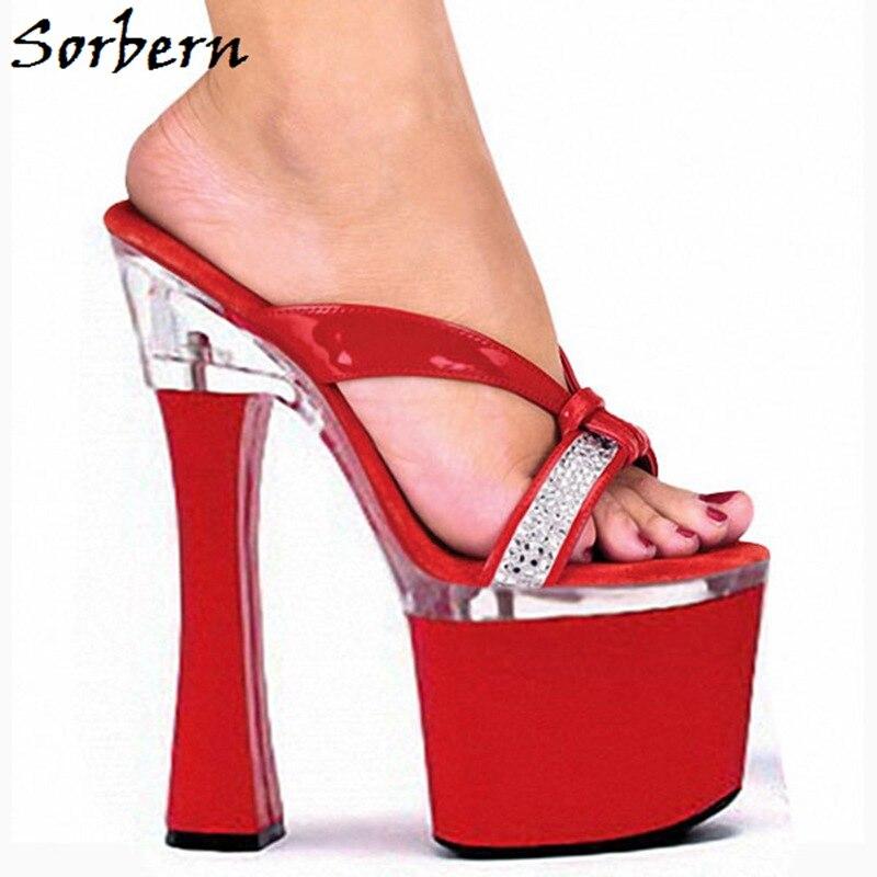 Dames De Parti Designer Haute Taille Chaussures D'été Couleur 10 Strass Plate forme Talons Sorbern Mode Rouge Pantoufles Marque roCWdxeB