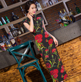 Chinese Women's Satin Cheongsam Qipao Cotton & Linen long Dress S M L XL Chinese Oriental Dresses Traditional Chinese Dress