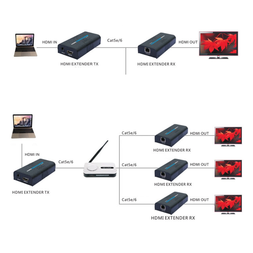 Hot LKV383 HDMI Extender With IR 1080P Over Lan RJ45 Cat5//6 Converter UP to 120M