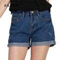 Ailoria Летние Короткие Джинсы Плюс Размер 2016 Женщины Высокой Талией джинсовые Шорты Ролл Подол Свободные Женские Super Cool Короткие Pantalon Femme