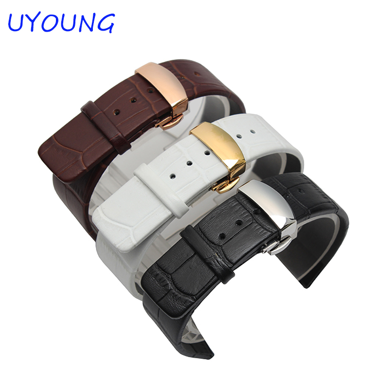 Quality Genuine Leather Watchband 20mm Double click the butterfly button Men And Women Black Brown Watch Strap Bracelet the golden butterfly leather leather watchband leisurely bracelet watch with 20mm common men and women