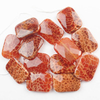 (1 Strand/lot) Wholesale 1Strand Faceted Fire Agates Oblong Loose Bead 15.5 inch 30x22mm SAM_9509