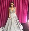 Fotos reais Cor Cinza Espumante Cristal Beading Pescoço V vestido de Baile Formal de Longo Vestido de Noite do baile de Finalistas Vestido de Festa de Casamento