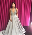 Real Photos Grey Color Sparkling Beading Crystal V Neck Ball Gown Formal Long Evening Dress Prom Wedding Party Dress