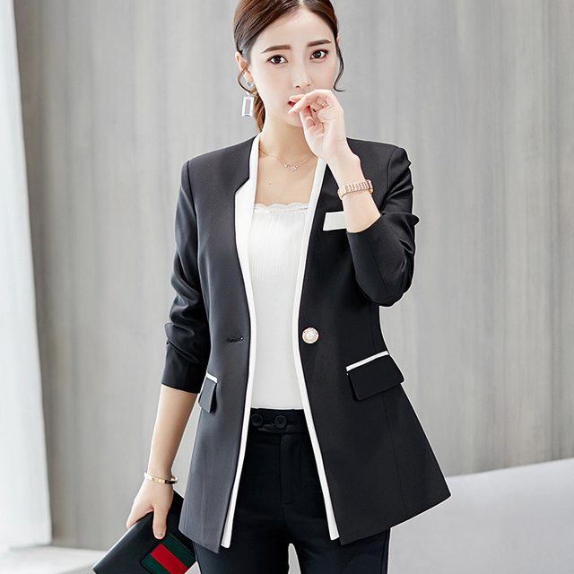 Fashion Blazer Women New 2018 Spring Autumn Slim Fit Formal Jackets Office Lady Work Wear Coat Women Blazer feminino V017