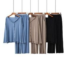 2020 Autumn New Ladies Pajamas Set Comfort Solid Color Women Sexy V Neck Homewear 2Pcs Long Sleeve+Pants Casual Wear