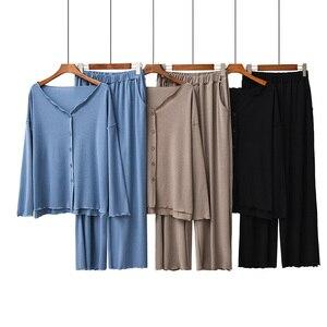 Image 1 - 2020 jesień nowe panie piżamy zestaw komfort jednolity kolor kobiety Sexy dekolt w serek z Homewear 2 sztuk z długim rękawem + spodnie odzież na co dzień