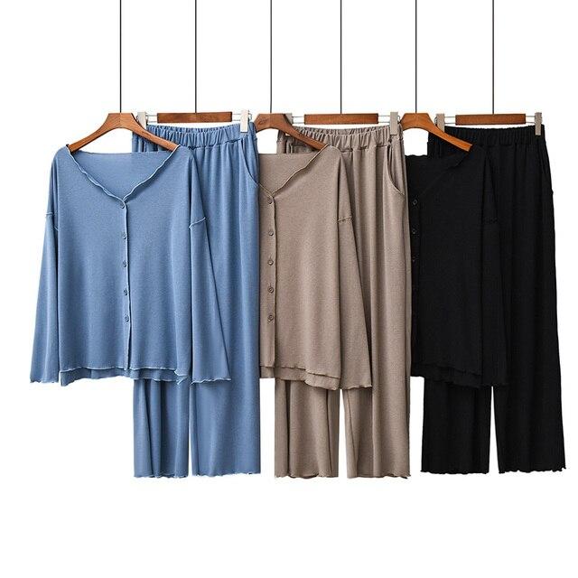 2020 jesień nowe panie piżamy zestaw komfort jednolity kolor kobiety Sexy dekolt w serek z Homewear 2 sztuk z długim rękawem + spodnie odzież na co dzień