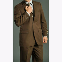 Three Buttons Notch Lapel Brown Men Suits Costume Homme 3 pieces groom Tuxedo Terno Slim Fit Masculino mens suit (Jacket+Pants)