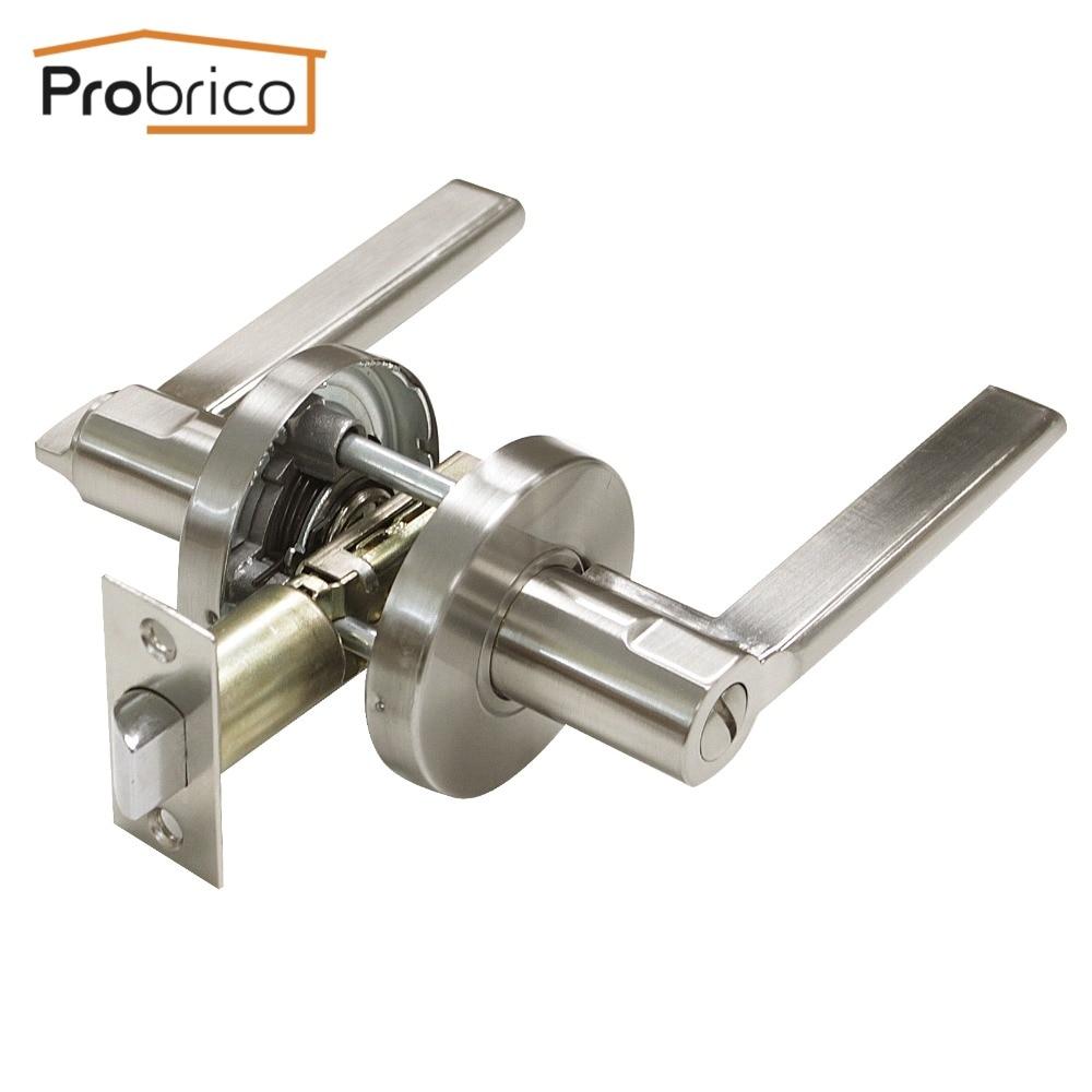 ФОТО Probrico Security Door Lock Stainless Steel Safe Lock DL1637SNBK Door Handles Privacy Door Keyless Lock Knobs