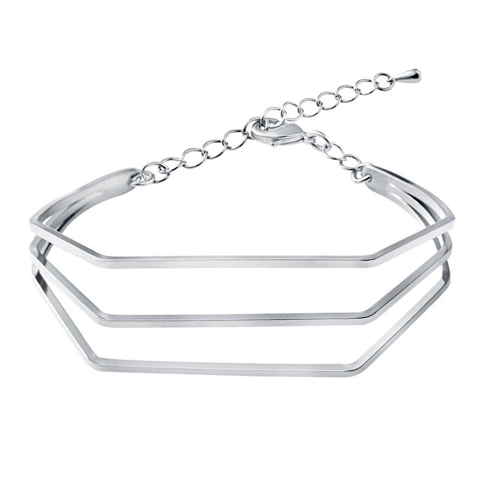25edf78c93b7 Mode Vintage Femme Bracelet En Cuir Trois couche Métal Bracelets Simple  Manchette À La Mode Européenne   Americal Bracelet