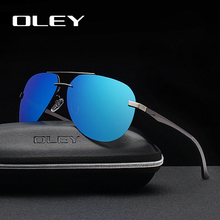 OLEY Brand Aluminum Magnesium Polarized Mens Sunglasses Fashion Classic Pilot Half Frame Driving Fishing Anti-Glare Goggles