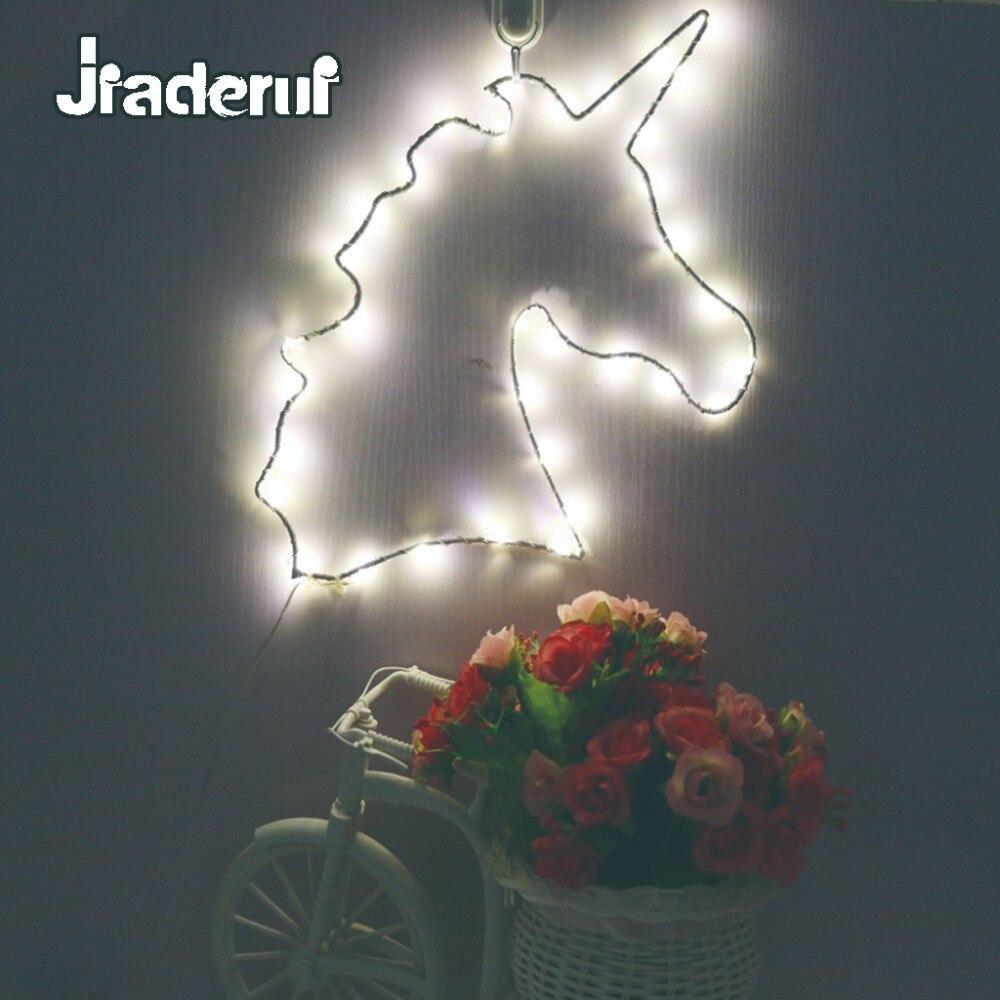 Jiaderui LED Metal Unicorn Novelty Night Light Kid Baby Gift Lamp Decor Children Bedroom Nursery Wall Lamp Holiday Garland Light