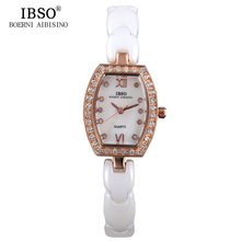 IBSO Ceramic Strap Women Watches 2017 High Quality Fashion Brand Luxury Crystal Diamonds Ladies Watches Montre Femme