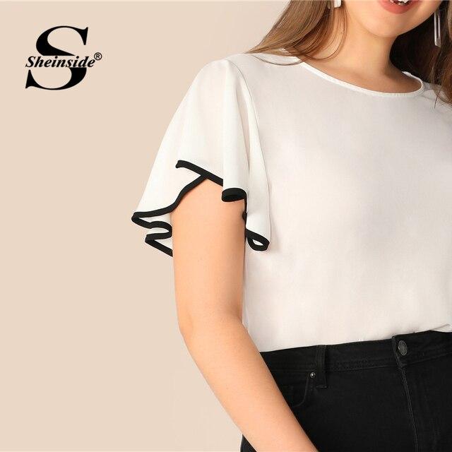 Sheinside Plus Size White Contrast Binding Flutter Sleeve Top Women 2019 Summer Flounce Sleeve Blouse Ladies Short Sleeve Tops 4