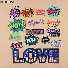 Prajna Alphabet Letters Patch Cartoon Iron On Patches For Clothing Embroidered Black Big Sequins Vest Pokemon Love A1