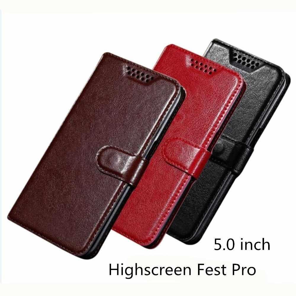 Cho Highscreen Fest Pro Trường Hợp Wallet PU Leather Case Đối Với Highscreen Fest Pro Bìa Chất Lượng Cao Cuốn Sách Đứng Khe Cắm Thẻ Nhớ trường hợp