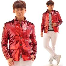 Red men suit designs masculino terno stage costumes for singers men sequin blazer dance clothes jacket style dress punk rock