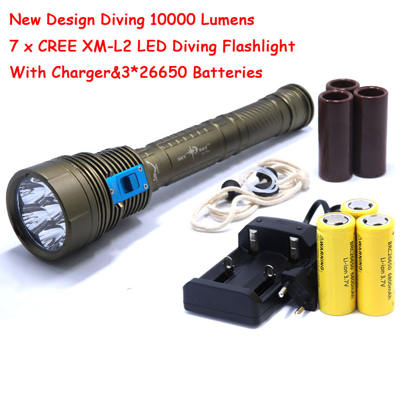 New Design Waterproof 10000 Lumens 7 x CREE XM-L2 LED Diving Flashlight UnderWater 200m Light Lamp + 3*26650 Battery + Charger diving 4000 lumens cree xm l2 led 3 l2 led t6 flashlight torch waterproof underwear lamp light super white light