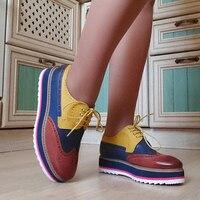 Yinzo/женские туфли-оксфорды на плоской подошве, женские кроссовки из натуральной кожи на платформе, женские броги, повседневная женская обув...