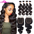 Malaysian Virgin Hair With Closure 7A Body Wave With Closure Human Hair 3 Bundles With Closure Malaysian Body Wave With Closure