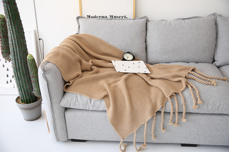 Nordic Style Casual plaid knitted Blanket with Tassel Home Decoration Throw Blankets for Sofa Bed Cover Bedpread deken cobertor