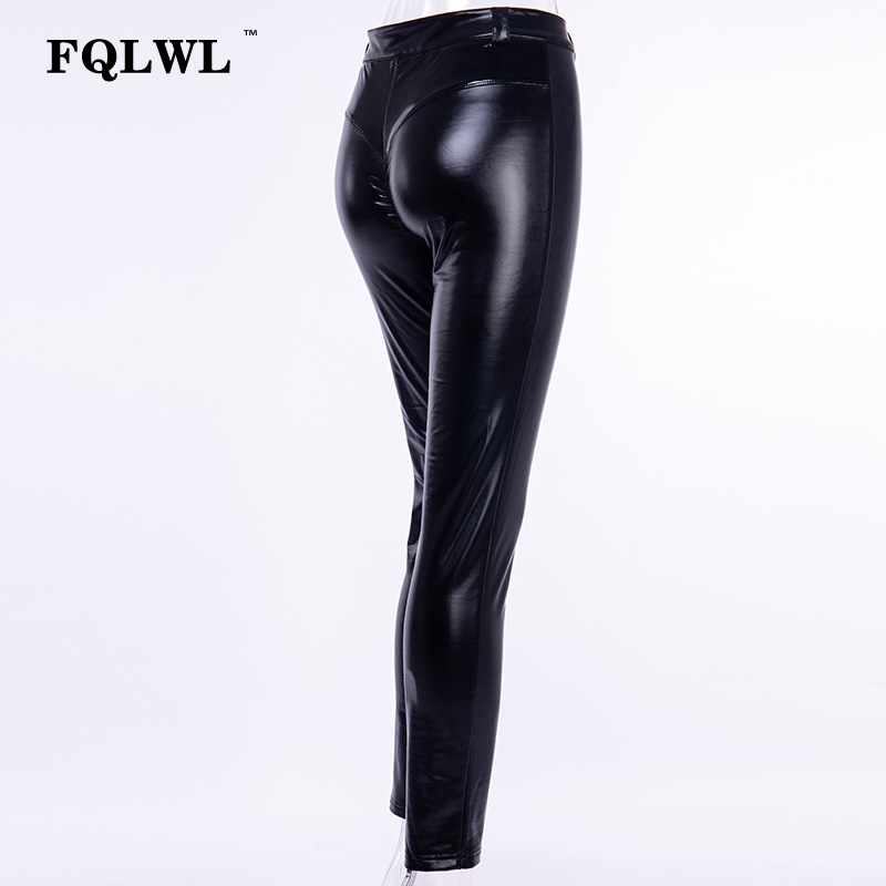 FQLWL Punk Bodycon Faux Pu Leather Pants Women Push Up Black High Waist Pants Female Autumn Winter Trousers Women Sexy Pants 17