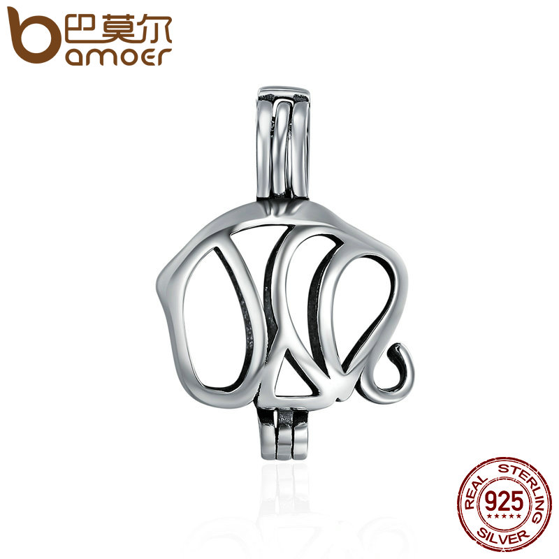 BAMOER 100% 925 Sterling Silver Animal Pendant Lucky Guardian Elephant Cage Pendant fit  ...