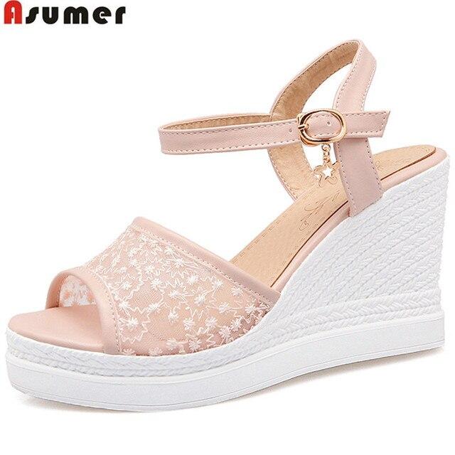 ASUMER 2018 fashion summer new arrival shoes woman peep toe buckle platform  wedges shoes women sandals big size 33-43 white 4d977c4a4c93