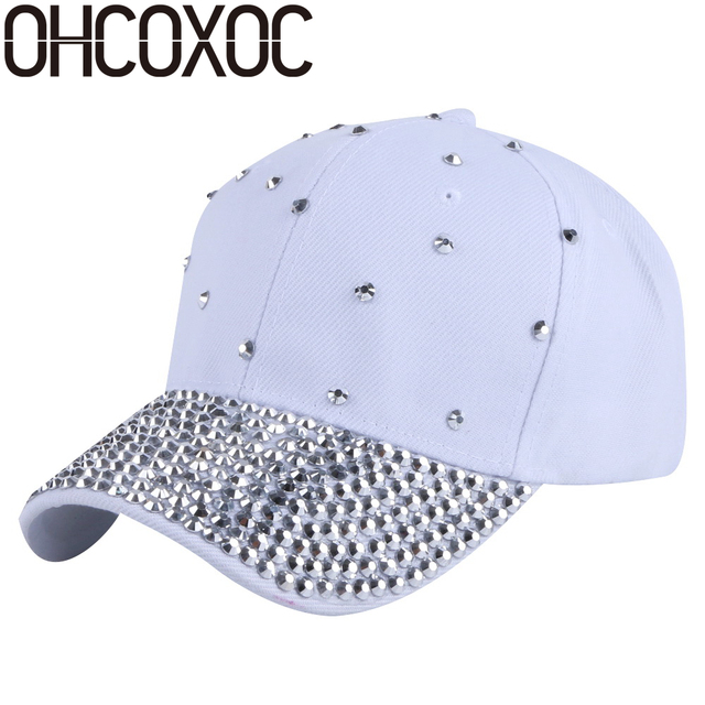 OHCOXOC women new fashion baseball cap hats handmade rhinestone beads bling luxury hat woman girl beauty casual caps wholesale