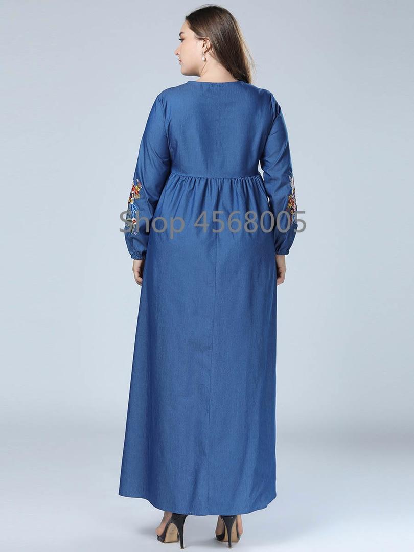 Мусульманское женское джинсовое платье одежда из Дубая для женщин цветы вышивка джинсы Исламская одежда Бангладеш турецкий длинный модный Халат