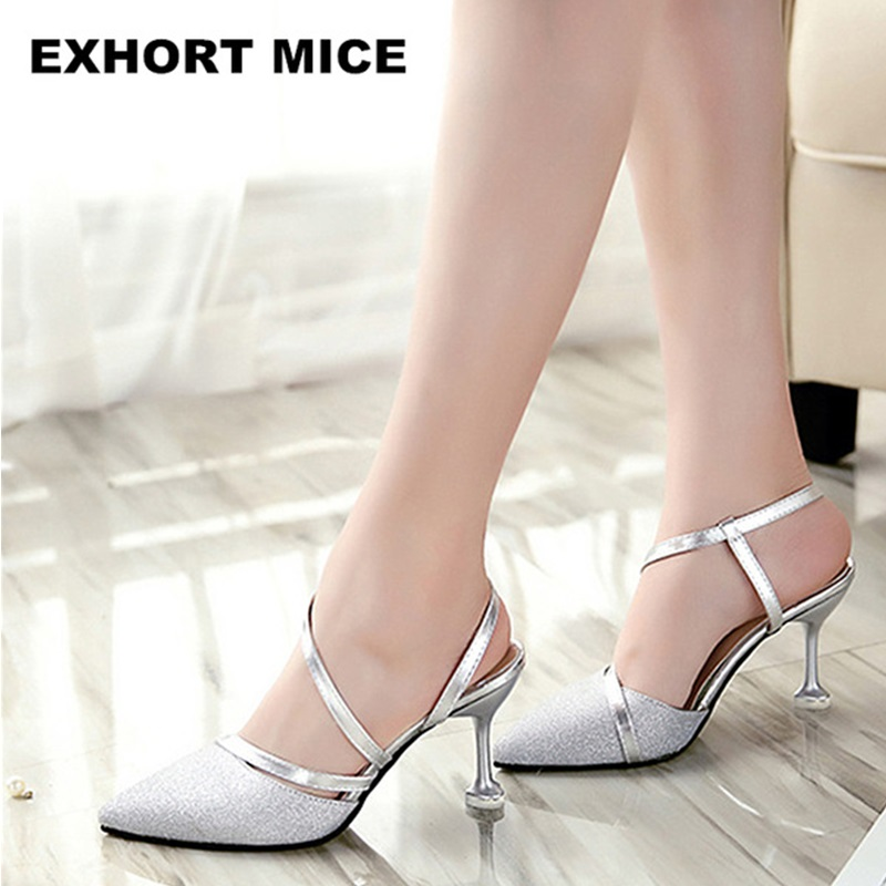 2018 Summer heel High Heels Sandals lady Pumps classics slip on Shoes sexy Women party shoes gold silver Wedding Slingbacks xiaying smile new summer women sandals high square heels pumps fashion platform shoes casual lady mature style slip on shoes